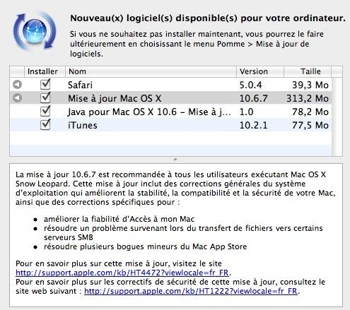 Mac OS X 10.6.7 est disponible !