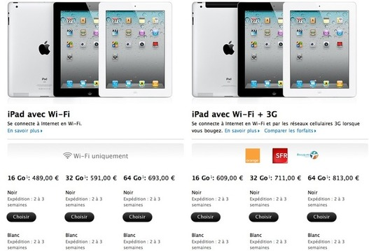 L'iPad 2 en vente sur Apple.fr