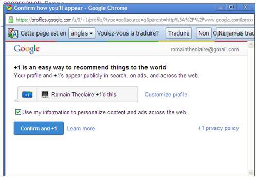 Google +1 - Le nouveau service est disponible !