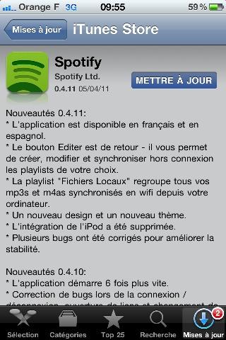 Spotify - L'application iPhone mise à jour