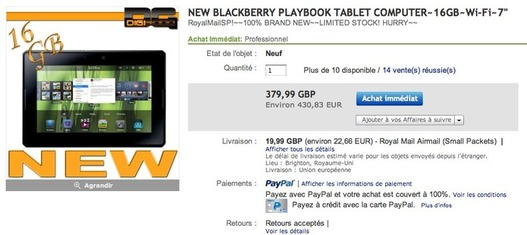 Blackberry Playbook à 430 € sur eBay