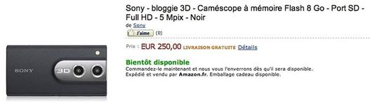 Sony Bloggie 3D bientôt disponible en France à 250 €