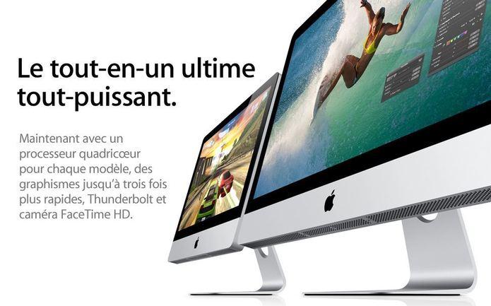Apple lance de nouveaux iMac avec SandyBridge, Thunderbolt et caméra FaceTime HD