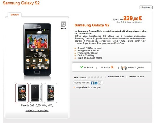 Le Samsung Galaxy S 2 en vente chez Orange