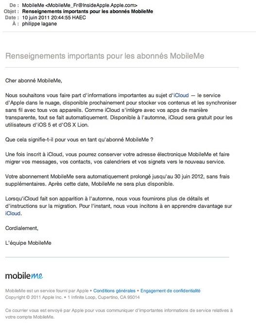 Apple annonce la fin de MobileMe
