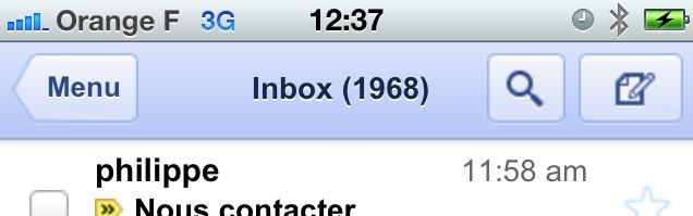 Gmail sur iPhone - Disparition du bouton de mise à jour