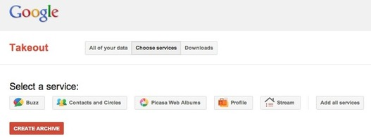 Google Takeout - Sauvegarde de données Google