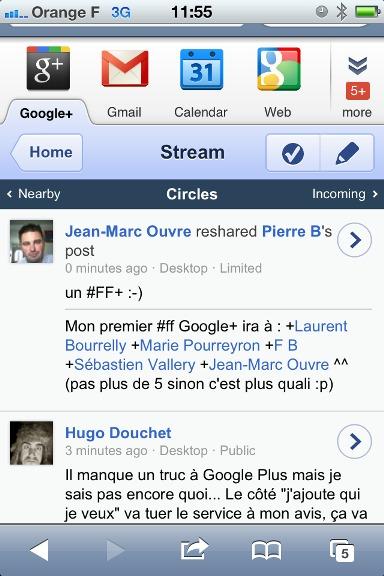Google + fait son apparition sur la version mobile