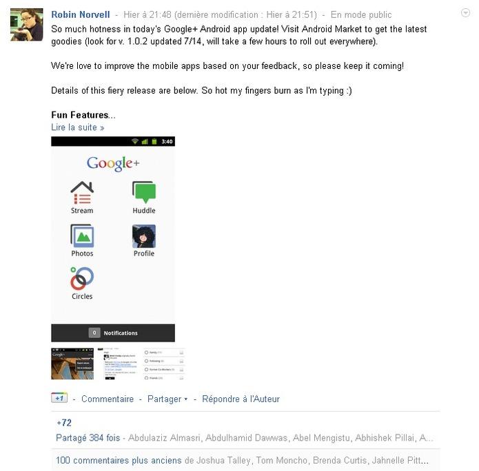 Google + offre le filtre des flux d'actualités sur Android