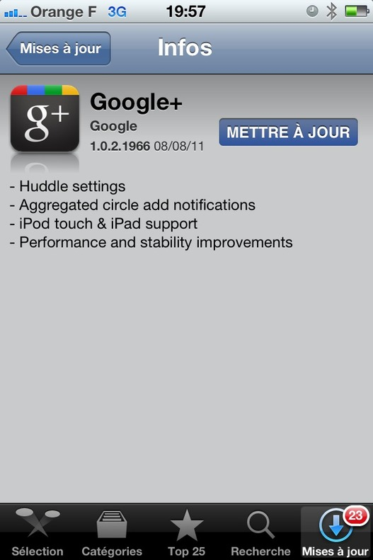 Google Plus - Mise à jour de l'application iPhone