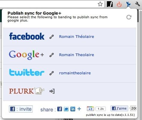 Publish Sync - Partager en un clic sur Google Plus, Twitter et Facebook