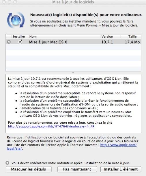 Mac OS X Lion 10.7.1 est disponible