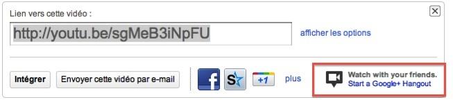 Google Plus - YouTube intègre le bouton Hangout