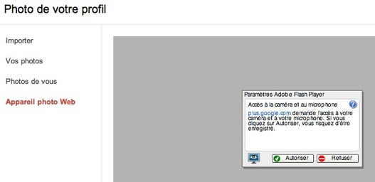 Google + - Utilisez votre webcam pour votre photo de profil