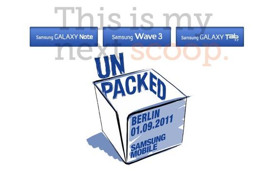 Samsung Galaxy Tab 7.7, Galaxy Note et Wave 3 annoncés à l'IFA 2011