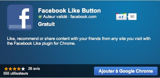 Bouton Facebook Like pour Google Chrome