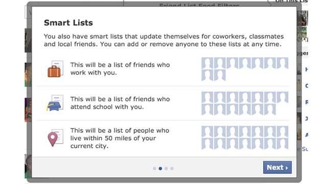 Facebook s'inspire de Google Plus en testant les Smart Listes