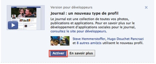 Comment activer Facebook Timeline maintenant ?