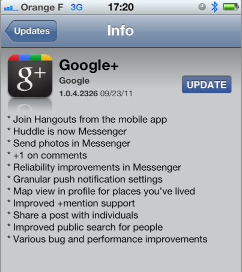 Google Plus pour iPhone - Mise à jour