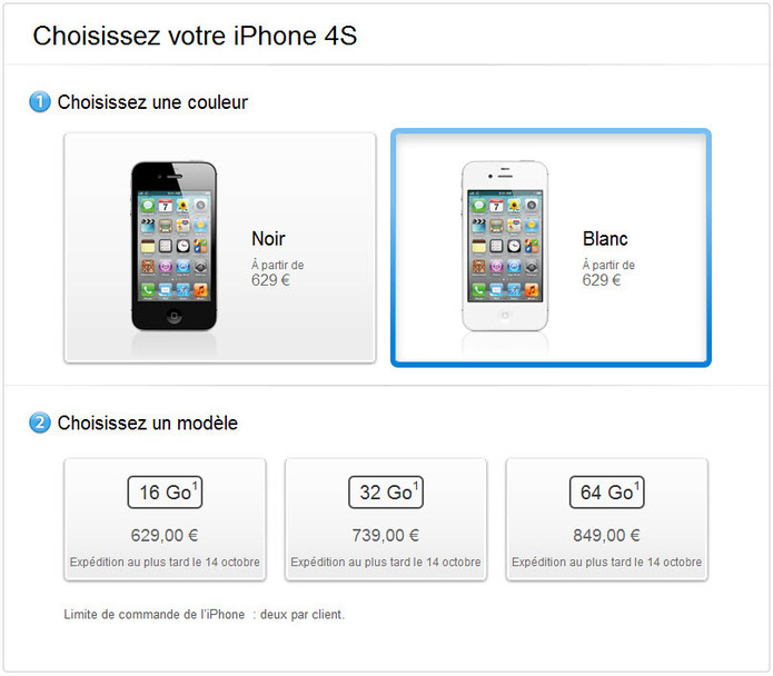 L'iPhone 4S est disponible en pré-commande sur le site d'Apple