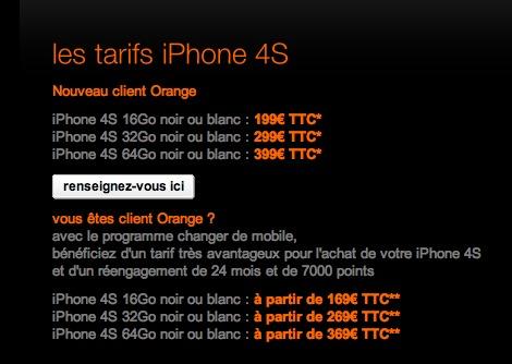 Tarifs Orange iPhone 4S - Mieux vaut être nouveau client