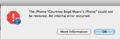 Internal Error Occurred - Installation iOS 5 impossible (pas de panique)