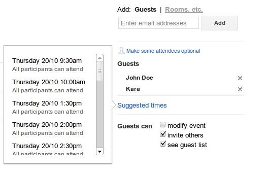 Nouveauté Google Agenda - Suggestion d'heure de rendez vous