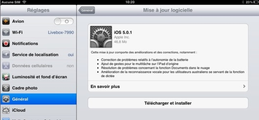 iOS 5.01 disponible pour iPhone, iPad et iPod Touch