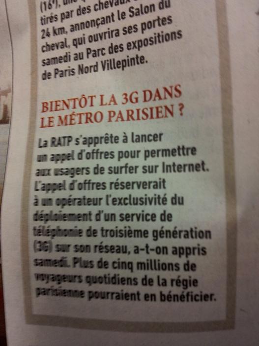 RATP - Bientôt de la 3G dans le métro parisien
