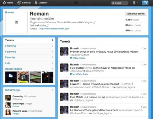 Twitter met à jour sa version web et son portail mobile