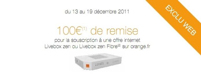 Orange propose une ODR de 100€ pour toute souscription à Livebox Zen ADSL et Fibre