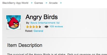Angry Birds débarque sur Blackberry Playbook