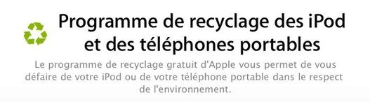 Apple recycle vos iPod et autres téléphones portables