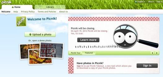 Picnik ferme ses portes le 19 avril 2012