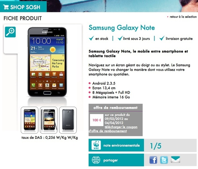 Sosh propose le Samsung Galaxy Note  359