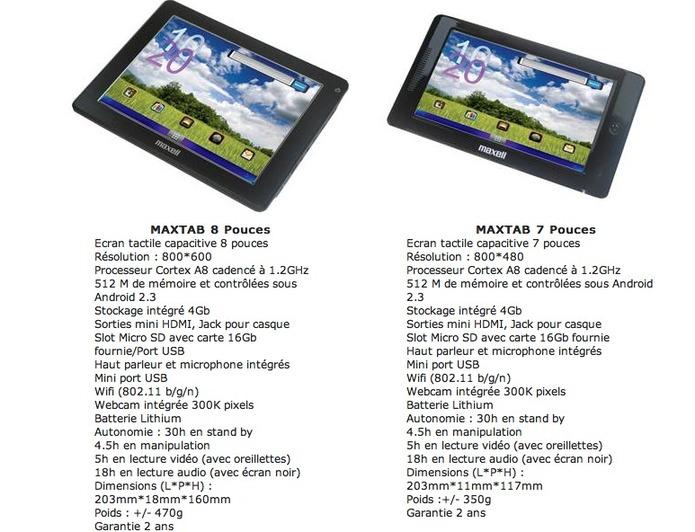 MaxTab - les tablettes Maxell en 7 et 8 pouces sous Android
