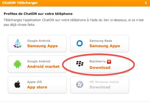 ChatON de Samsung maintenant pour Blackberry