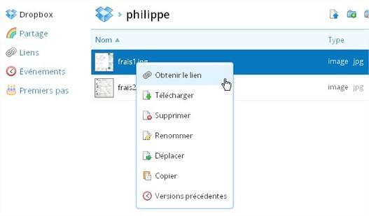 Dropbox créé les liens de partage de documents ou dossiers