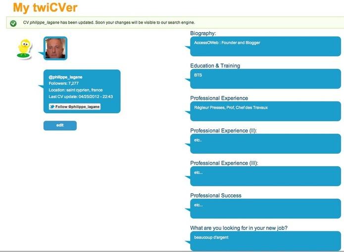 TwiCVer - Votre CV sur Twitter