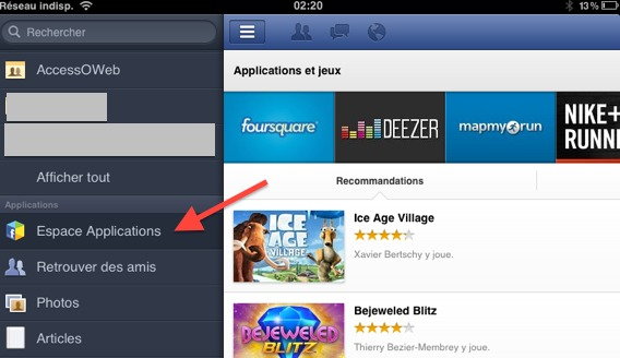 Facebook App Center sur iPad