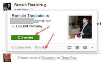 Gmail - Intégration de Google+ dans les cartes de profils Gmail