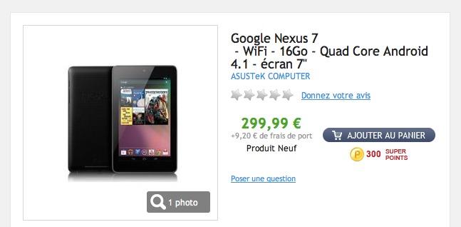 La Google Nexus 7 16 Go à 300 € en France ( maintenant)