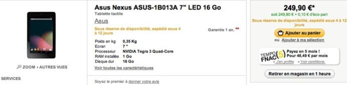 La Google Nexus 7 à la Fnac à 249 €