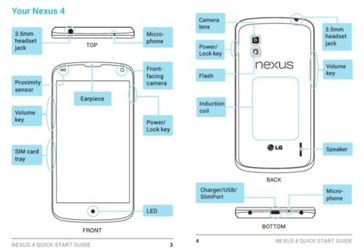 Le manuel du LG Nexus 4 leaké