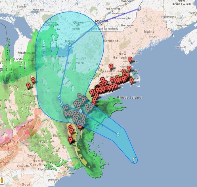 Ouragan Sandy - Le suivre sur Google et sur les Webcams
