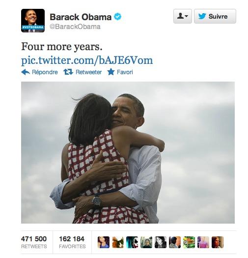 Four more years - Obama - Le tweet le plus retweeter de l'histoire