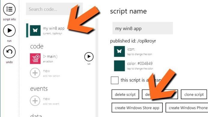 Créez des applications pour WP8 et Windows 8 directement en ligne