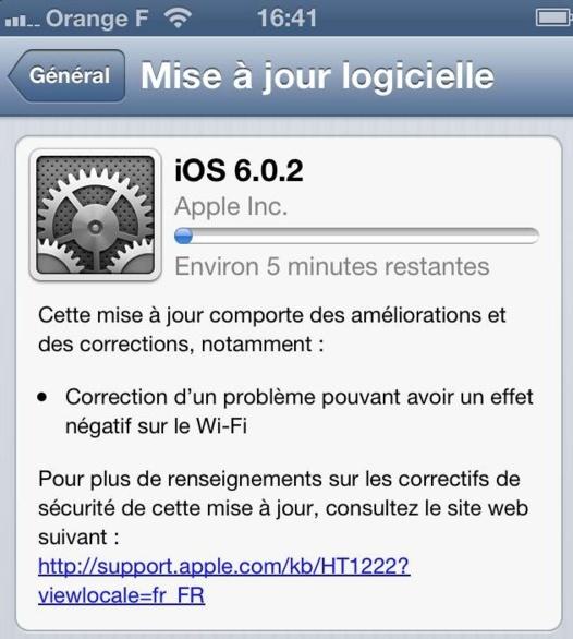 iOS 6.0.2 et Google Maps sur iPhone