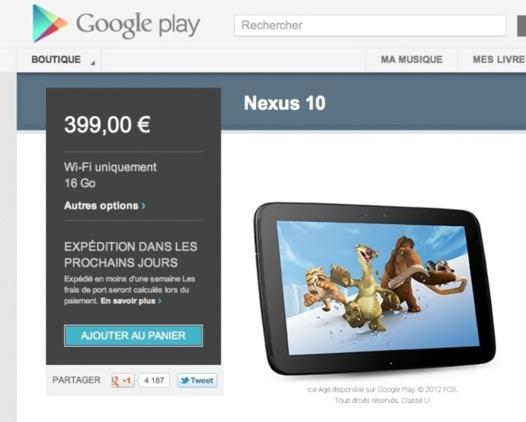 La Nexus 10 de nouveau en vente sur Google Play
