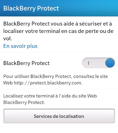 Activer Blackberry Protect sur Blackberry 10